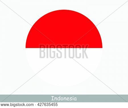 Indonesia Round Circle Flag. Indonesian Circular Button Banner Icon. Eps Vector