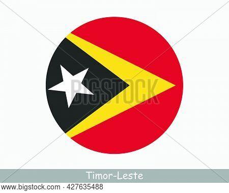 East Timor Round Circle Flag. Timor-leste Circular Button Banner Icon. Eps Vector