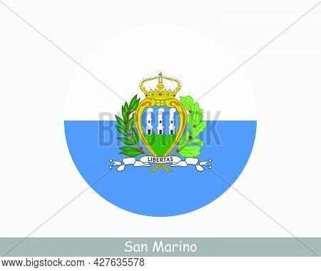 San Marino Round Circle Flag. Sammarinese Circular Button Banner Icon. Eps Vector