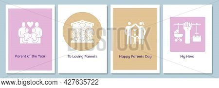 Wishing Happy Parents Day Greeting Cards With Glyph Icon Element Set. Creative Simple Postcard Vecto