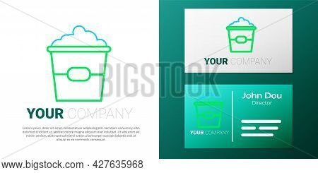 Line Popcorn In Cardboard Box Icon Isolated On White Background. Popcorn Bucket Box. Colorful Outlin