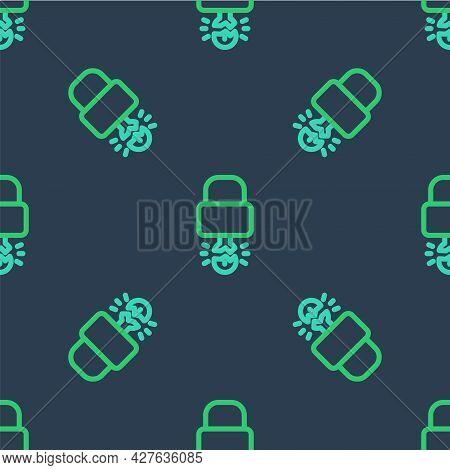 Line Key Broke Inside Of Padlock Icon Isolated Seamless Pattern On Blue Background. Padlock Sign. Se