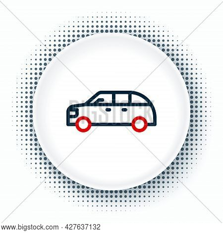 Line Hatchback Car Icon Isolated On White Background. Colorful Outline Concept. Vector