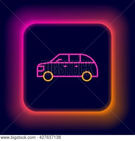 Glowing Neon Line Hatchback Car Icon Isolated On Black Background. Colorful Outline Concept. Vector