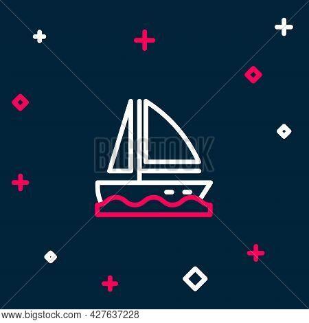Line Yacht Sailboat Or Sailing Ship Icon Isolated On Blue Background. Sail Boat Marine Cruise Travel
