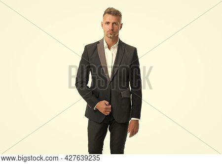 Single Handsome Guy With Stylish Haircut Wear Formal Suit Formalwear Isolated On White, Bachelor