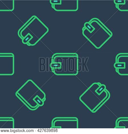 Line Wallet Icon Isolated Seamless Pattern On Blue Background. Purse Icon. Cash Savings Symbol. Vect
