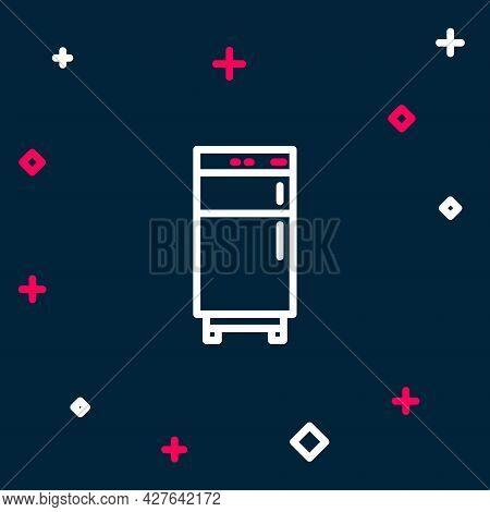 Line Refrigerator Icon Isolated On Blue Background. Fridge Freezer Refrigerator. Household Tech And