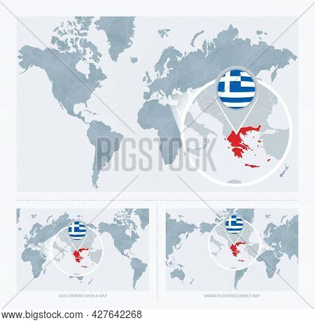 Magnified Greece Over Map Of The World, 3 Versions Of The World Map With Flag And Map Of Greece. Vec