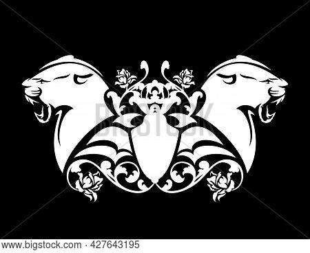 Roaring Panther Head And Heraldic Shield Among Rose Flower Decor - Black And White Vector Vintage St