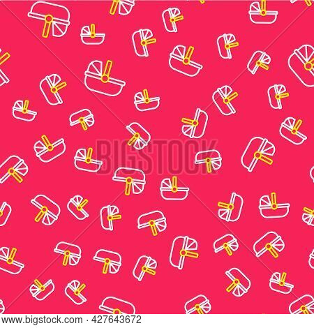 Line Baby Stroller Icon Isolated Seamless Pattern On Red Background. Baby Carriage, Buggy, Pram, Str