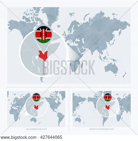 Magnified Kenya Over Map Of The World, 3 Versions Of The World Map With Flag And Map Of Kenya. Vecto