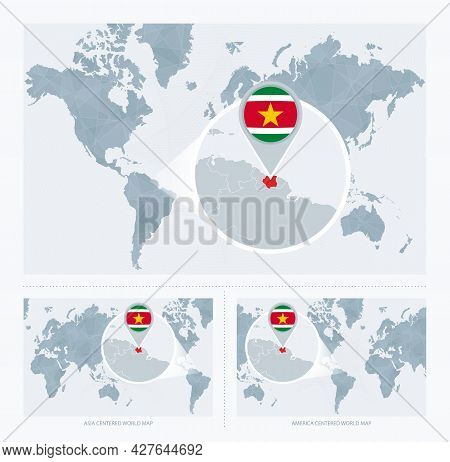Magnified Suriname Over Map Of The World, 3 Versions Of The World Map With Flag And Map Of Suriname.