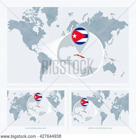 Magnified Cuba Over Map Of The World, 3 Versions Of The World Map With Flag And Map Of Cuba. Vector