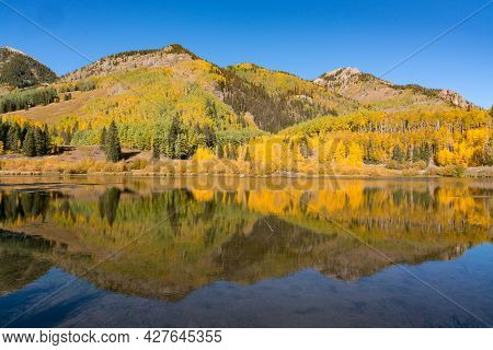 Reflection Of Aspen Trees On Lake In The San Juan Mountains Of Colorado