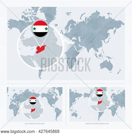 Magnified Syria Over Map Of The World, 3 Versions Of The World Map With Flag And Map Of Syria. Vecto