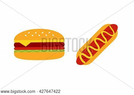 Hot Dog With Mustard Sauce And Burger, Cheeseburger Cute Carton Style Vector Icon, Illustration For