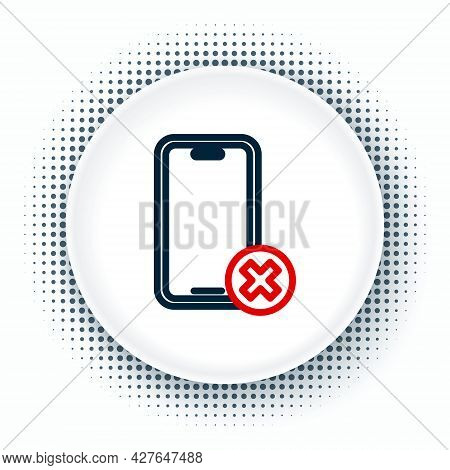 Line No Cell Phone Icon Isolated On White Background. No Talking And Calling Sign. Cell Prohibition.