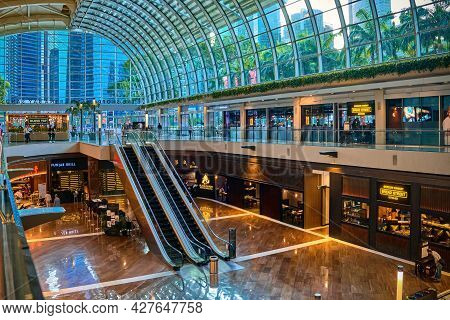 Singapore - Feb 25, 2020. Interior Of Entrance Area In Shoppes Mall And Marina Bay Sands Center. Lux