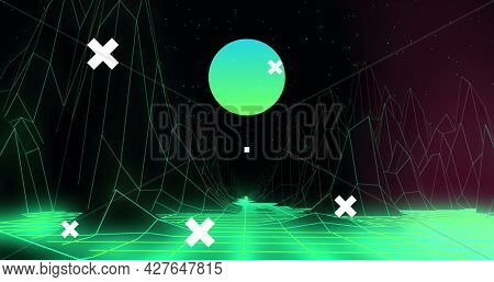 Image of white crosses over global network, digital head interface, and green moon and landscape. communication, medical technology, and digital interface concept, digitally generated image.
