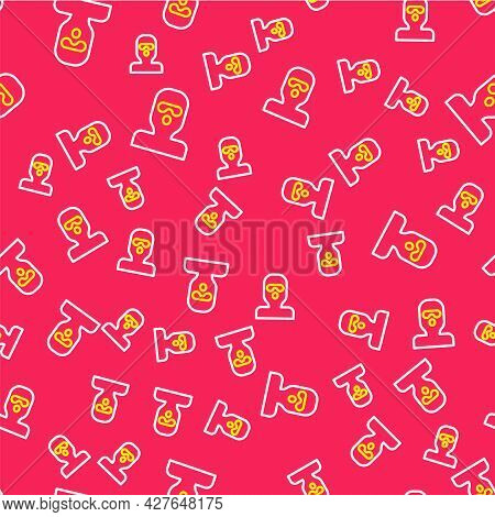 Line Thief Mask Icon Isolated Seamless Pattern On Red Background. Bandit Mask, Criminal Man. Vector