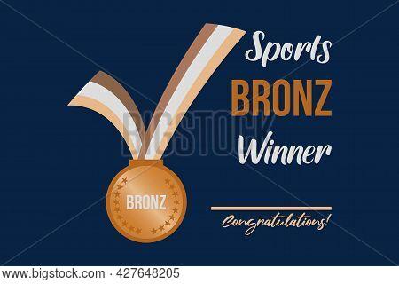 Sports Bronze Medal Winner. Bronz Medal With Ribbon Vector Illustration