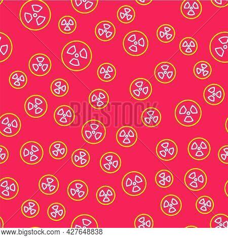 Line Radioactive Icon Isolated Seamless Pattern On Red Background. Radioactive Toxic Symbol. Radiati