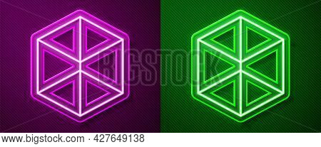 Glowing Neon Line Geometric Figure Cube Icon Isolated On Purple And Green Background. Abstract Shape