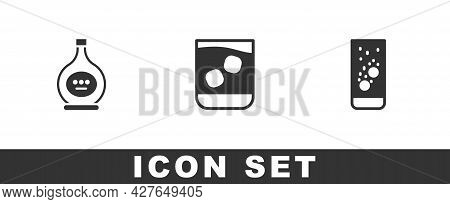Set Bottle Of Cognac Or Brandy, Glass Whiskey And Effervescent Tablets In Water Icon. Vector