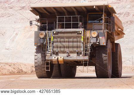 Huge Large Dump Truck At An Open-pit Copper Mine In Peru.