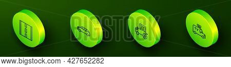 Set Isometric Line Road, Hatchback Car, Tractor And Tv News Icon. Vector