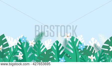 Horizontal Repeated Pattern With Tropical Plants And Blue And White Flowers. Summer Background With