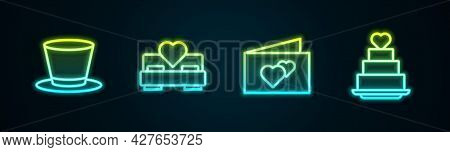 Set Line Cylinder Hat, Bedroom, Greeting Card And Wedding Cake With Heart. Glowing Neon Icon. Vector