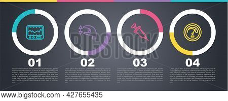 Set Line Measuring Instrument, Approximate Measurements, Syringe And Speedometer. Business Infograph