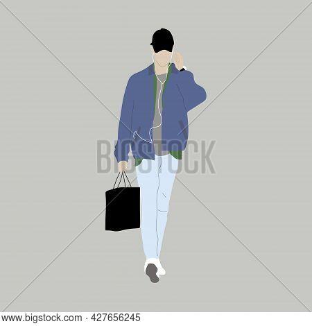 Vector Illustration Of Kpop Street Fashion. Street Idols Of Koreans. The Idol Of Kpop Men's Fashion.