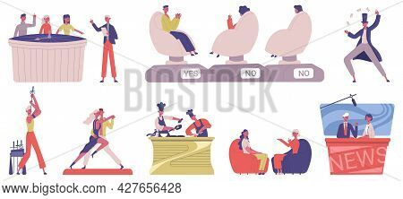 Television Show. Entertainment Tv Show, Cooking, Music And Quiz Game Show, People Taking Part In Tv