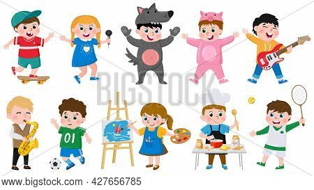Cartoon Kids Hobbies. Children Creative Musical, Acting, Drawing, Dancing Hobby, School Or Preschool