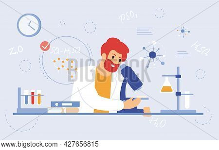 Scientist Work With Microscope. Medical Laboratory Worker, Scientific Researcher With Laboratory Equ
