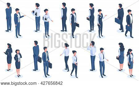 Isometric Office People. Male And Female 3d Business Characters, Office Workers Wearing Business Sui