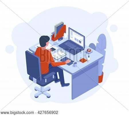Freelance Home Office. Male Character Working At Laptop, Workspace With Desktop Computer And Chancel