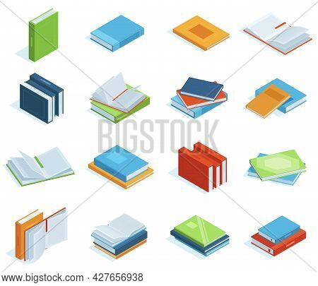Isometric Books. Bookstore Or Library Books, Education Brochure, Encyclopedia, Textbooks Or Classic