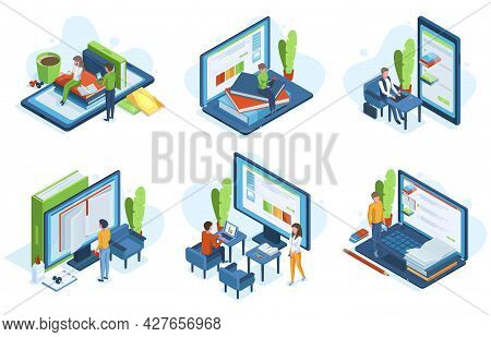Isometric People Online Education. Distance Learning, 3d Characters Learn Online On Computer Screens