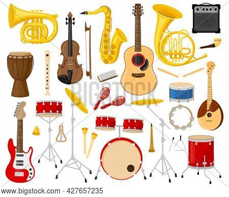 Cartoon Musical Instruments. Acoustic And Electric Instruments, Guitars, Drums, Saxophone, Violin Ve
