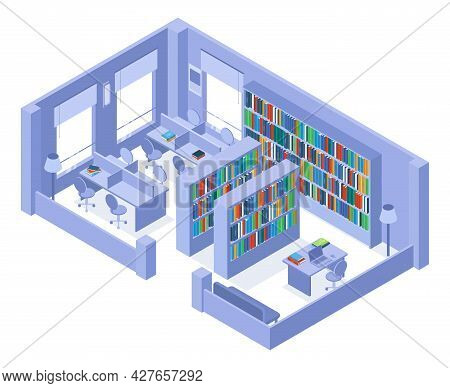 School Or University Isometric Library Bookshelves And Bookcases Interior. College Library With Book