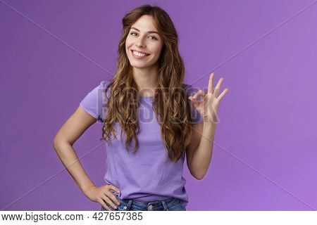 Confident Professional Girl Not Scared Difficult Task Assure Everything Okay Smiling Broadly Self-as