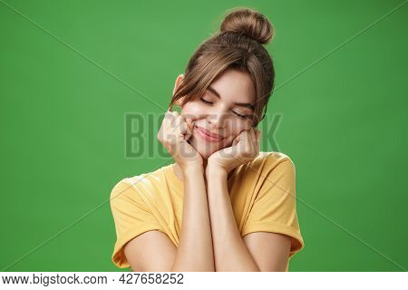 Tender Sensual Timid European Girl In Yellow T-shirt Leaning Head On Shoulder Touching Cheeks With H