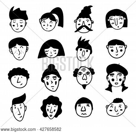 Set Of Doodle People Faces. Black And White Vector Isolated Illustration Logo. Serious, Surprised, G