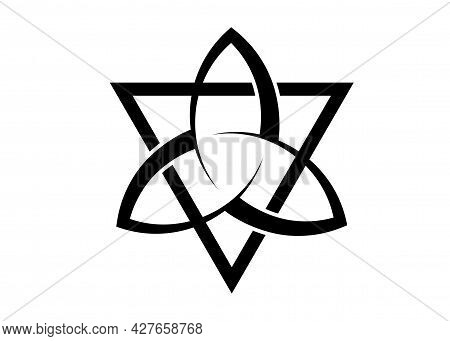 Triquetra With Triangle Logo, Trinity Knot Tattoo, Pagan Celtic Symbol Triple Goddess. Wicca Sign, B