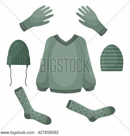 A Set Consisting Of Warm Autumn Clothes, Such As A Sweater, Gloves, Warm Socks And Hats. Autumn Set