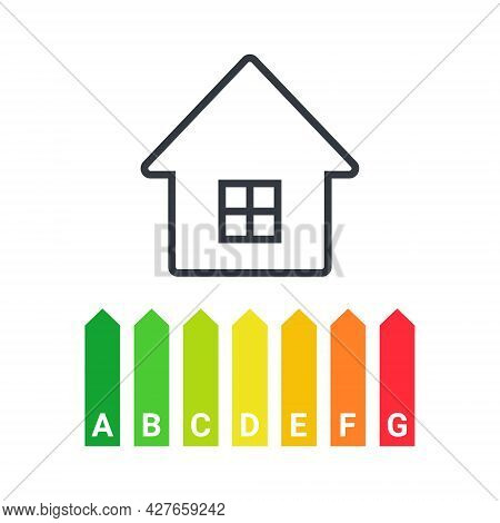 Energy Efficiency. Energy Efficient House With Classification Graph. Green House Symbol With Energy